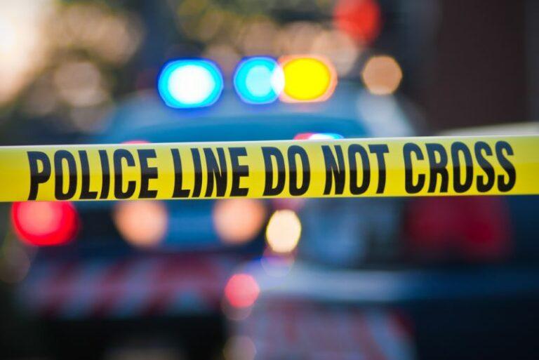 Police line tape and police car. Fatal Lake California crash.