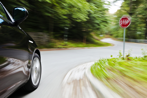 This is an. image of a car driving too fast right before an accident and calling a Morongo Valley car accident lawyer